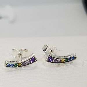 New Pandora Multi Colour Arches Stud Earrings S925